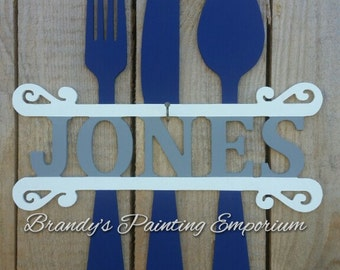 Wooden door hanger, flatware, last name, monogram, door hanger, home decor, kitchen decor, mothers day, spoon fork knife, hand painted, wood