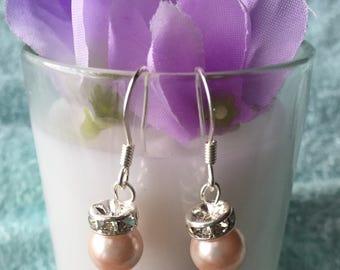 Glass Pearl Sparkle Earlings, Bridesmaid Earings, Pink Glass Pearl Earings