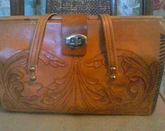 Vintage Hand Tooled Leather Purse Tandy Rose
