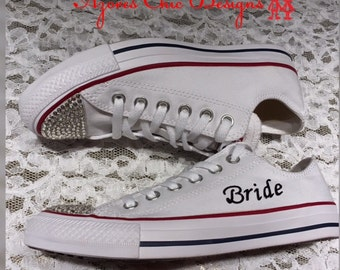 Wedding converse, custom Converse, Bling Converse,  Chucks,  Bridal converse,  bride Converse, personalized Converse, Women Converse,