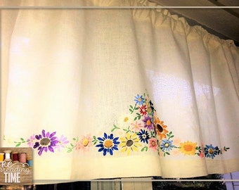 Re-Purposed Vintage Embroidered Linen Table Cloth now Beautiful One Of a Kind Window Dressing.  Farm House, Cottage Chic and Shabby Chic.