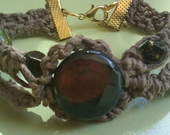 Hemp Macrame Bracelet Agate Stone