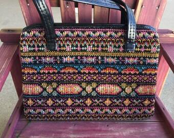 Multicolored carpet purse