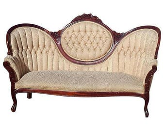Vintage Victorian Ivory Loveseat - Antique Carved Wood Cream/White Brocade Sofa/Couch - Stunning Settee!