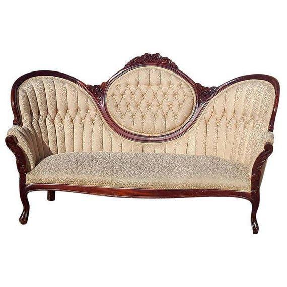 Vintage Victorian Ivory Loveseat Antique Carved Wood