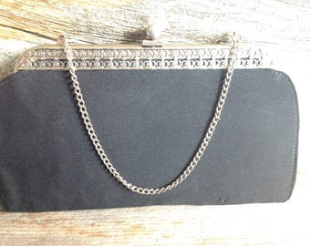 Vintage Black Evening Bag/Clutch with Detailed Clutch & Bullet Clasp vintage/black/wedding/party/special occasion