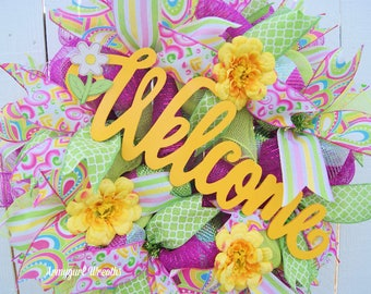 Welcome Mesh Wreath, Spring Mesh Wreath, Welcome Deco Mesh, Spring Welcome, Deco Mesh Wreath, Spring Wreath, Welcome Wreath, Flower Decor