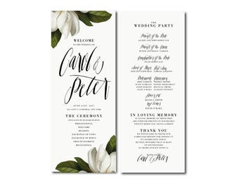 WHITE MAGNOLIA garden printable Wedding program,Long program,botanical floral classy program,order of service,Order of Ceremony