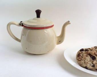 Vintage Enamelware Teapot 1920s Rare Antique Tea Kettle Kitchen Decor