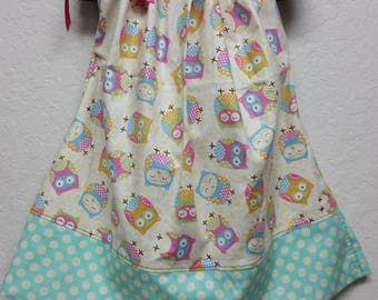 Owl Polka Dot Pillowcase Dress Size 2T