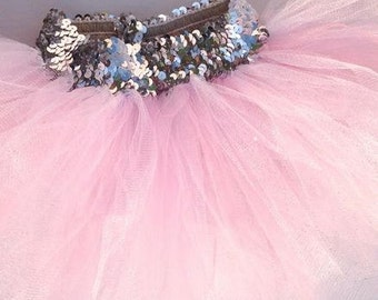 Pink Sequence Valentines day tutu, Pink shimmer tutu, pink tutu, girls tutu, newborn tutu, pink tulle , tulle tutu, glitter tulle