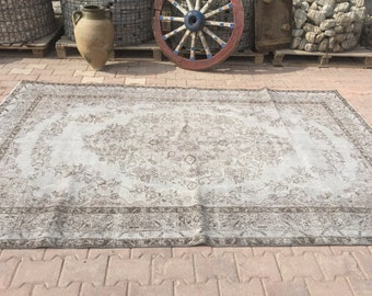Oushak Area Rug,Vintage Rug, Soft Grey Color Rug, Turkish Rug, Vintage Rug,Handwoven Decorative Vintage Carpet,Oriental Rug,6'2''x9'10''Feet