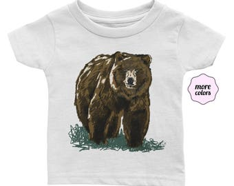 Grizzly Infant / Baby Short-Sleeve Shirt | Bear Baby Shirt | Bear Infant T-Shirt | Grizzly Shirt | Outdoorsy Tee | Woodland Animal Baby Tee