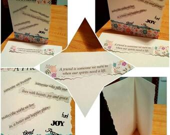 Beautiful Handmade Friendship Card, Matching Bookmark & Envelope