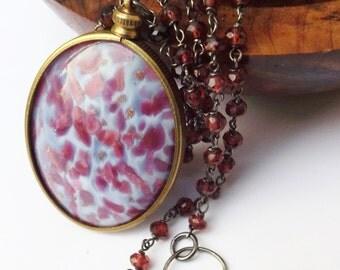 Vintage pendant, blue and pink pendant, 1940s pendant, oxidised silver, red garnet, garnet necklace, big pendant, something special