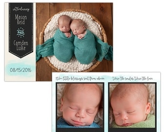 Twins Birth Announcement Photoshop Template--Instant Download n110
