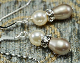 Platinum and Cream Swarovski Crystal Pearl Drop Earrings