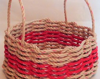 Medium Natual/ Red Round or Oval Basket