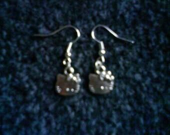 Cute Silver Tone Hello Kitty Earrings