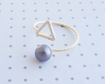 Triangle Gold Plated Ring Blue Pearl, Triangle Ring, Adjustable Ring, Gold Plated Ring Pearl, Pearl Ring Adjustable, Ring, Geometric Jewelry