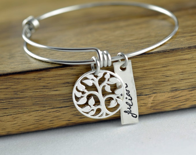Sterling Silver Family Tree Bangle Bracelet, Tree of Life Bracelet, Family Tree of Life Bangle, Bangle Bracelet, Grandmother Gift