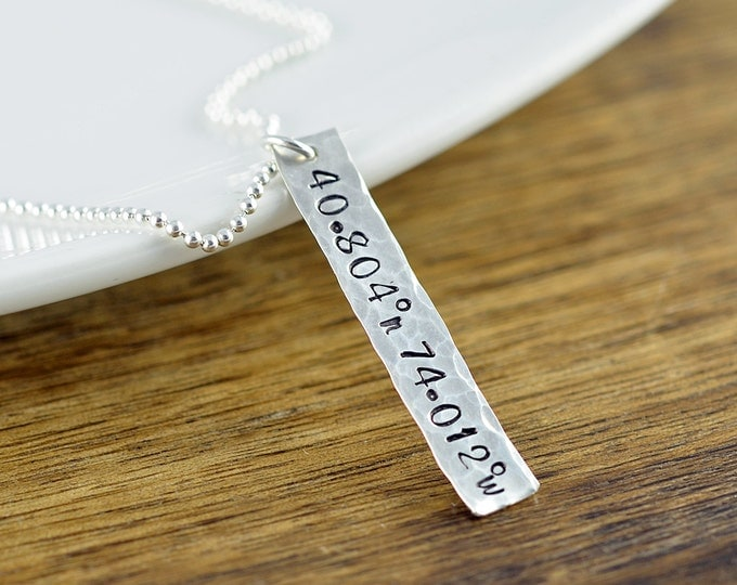 Sterling Silver Tag Necklace, Coordinate Necklace, GPS Coordinates Gift, Personalized Mens Necklace, Mens Jewelry, Mens Gift