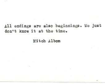 Mitch Albom Hand typed vintage typewriter quote