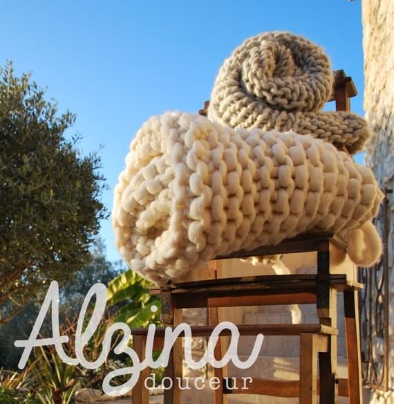 plaid tricot laine 100 m rinos grosse maille. Black Bedroom Furniture Sets. Home Design Ideas