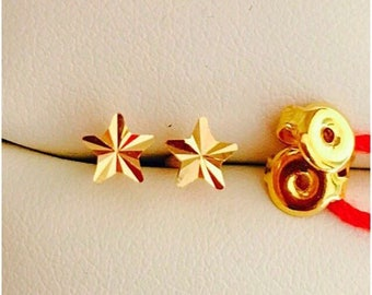 Solid 22k gold 916 gold star earrings earstuds