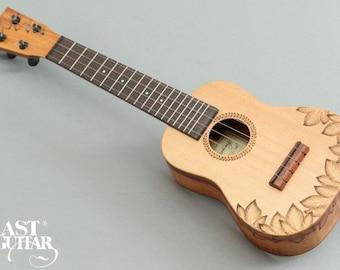Lasting Mahogany Wood Burned Soprano Ukulele with Gotoh UPT tuner ( LS-S/K-Leaf)