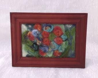 Felted Floral Garden Framed Felt Painting