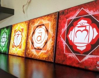 7 CHAKRA MANDALA SET. Acrylic paint, original art for your reiki, meditation, yoga room or altar