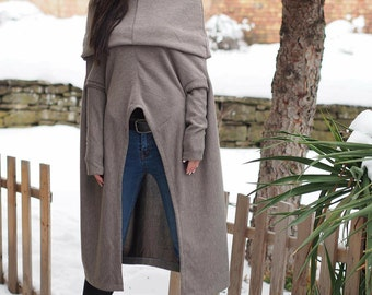 Asymmetric Long Tunic/Extravagant maxi Tunic Dress/Asymmetric sleeve Top/Oversize Loose Tunic/Gentle Casual Dress/Fallen Sleeve Long Top