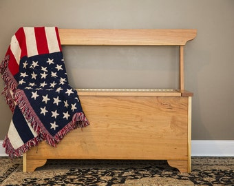Hand Crafted Wood Sitting and Storage Bench with High Back
