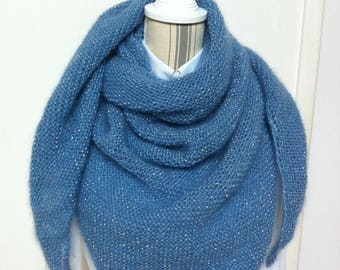 Clear blue shawl with silver wire in mohair and silk