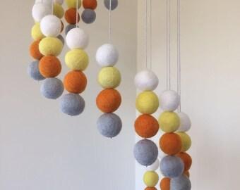 Crib Mobile - Baby Felt Mobile - Baby Cot Mobile - Felt Ball Mobile - Nursery Decor - Spiral Pattern