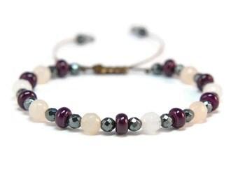 Boho Li Mei * Howlite, Hematite & Aventurine Style Pull - Tie Bracelet