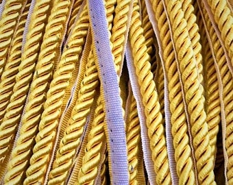 9mm Or 6.5mm Gold Twisted/Braided Cord Lip Trim Piping cording Basic Trim Cord With Sewing Lip