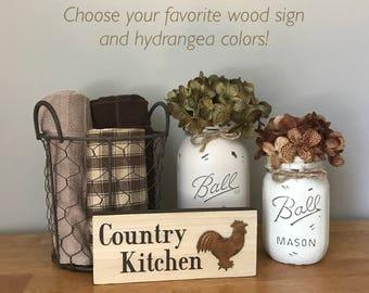 Mason Jar Kitchen Set Rooster Kitchen Decor Wood Signs Kitchen Mason Jar Decor