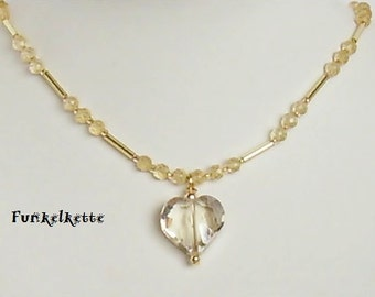 Necklace honiggelb delicate chain with Heart Necklace with pendant gemstone necklace citrine cut crystal glass heart delicate in form and color