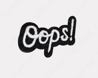 Oops Patches - Embroidery Oops Applique Iron On Patch