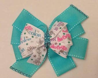 Light blue hair bow, little girls bling hair bow, sparkle hair bow