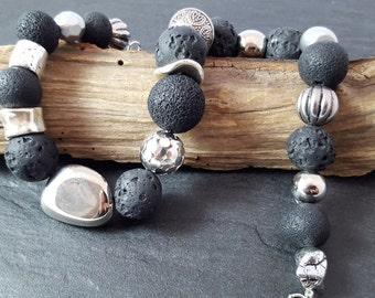 Silver chain necklace black