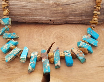 Necklace chain turquoise and Brown
