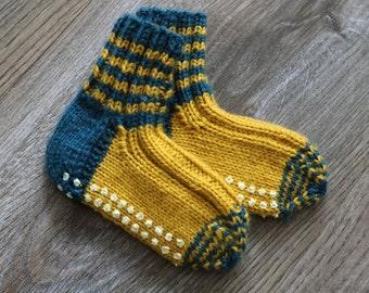 Socks baby blue/yellow 12-15 months, anti-slip