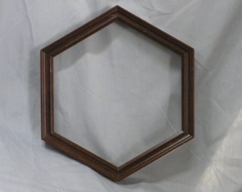 hexagon picture frame, wood, dark walnut, distressed finish
