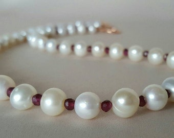 Cream Pearl and Ruby Necklace