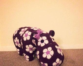 Crochet Hippo in Purple, African Flower Motif