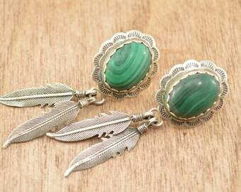 Southwestern Malachite Feather Drop Post Earrings Sterling Silver 8.2g