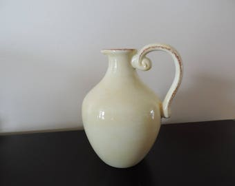 Hand painted vase - Pitcher with handle - Rustic-